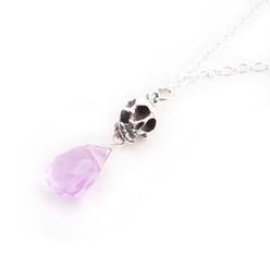 "Sterling Silver ""Jolly Jane"" Skull & Crystal Necklace, Lavender"