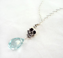 "Sterling Silver ""Jolly Jane"" Skull & Crystal Necklace, Aqua"