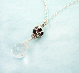 """Sterling Silver """"Jolly Jane"""" Skull & Crystal Necklace, Clear"""
