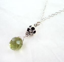 "Sterling Silver ""Jolly Jane"" Skull & Crystal Necklace, Olive"