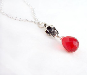 """Sterling Silver """"Jolly Jane"""" Skull & Crystal Necklace, Red"""