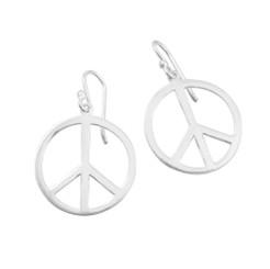 "Sterling Silver 3/4"" Peace Sign Earrings"