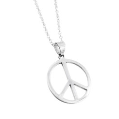 "Sterling Silver 3/4"" Peace Sign Pendant with Cable Chain Necklace"
