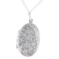 Sterling Silver Floral Pattern Large Oval Locket Necklace