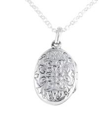 Sterling Silver Floral Pattern Oval Locket Necklace