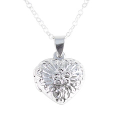 "Sterling Silver Patterned Heart Locket Necklace 16-18"" Chain"