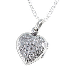 Sterling Silver Floral Pattern Small Heart Locket Necklace