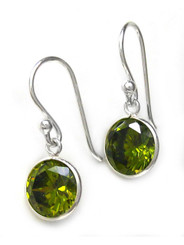 Sterling Silver Round Crystal Drop Earrings, Olivine