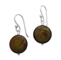 Sterling Silver Cultured Coin Pearl Drop Earrings, Brown