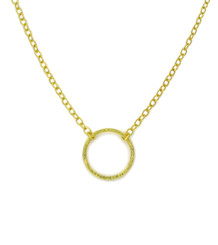 "Gold Plated Sterling Silver Textured Circle Charm Adjustable Chain Necklace, 16""-18"""