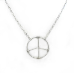 """Sterling Silver Handwrapped Peace Sign Adjustable Necklace, 16-18"""""""