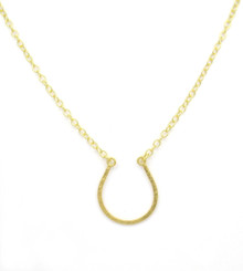 "Gold Plated on Sterling Silver Hammered Horseshoe Bit of Luck Chain Adjustable Necklace, 16""-18"""