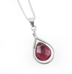 Sterling Silver Wire-wrapped Crystal Teardrop Necklace,  Purple