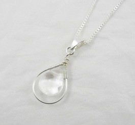 Sterling Silver Wire-Wrapped Crystal Teardrop Necklace, Clear