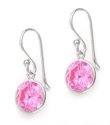 Sterling Silver Round Crystal Drop Earrings, Pink