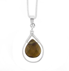 Sterling Silver Wire-wrapped Crystal Teardrop Necklace, Smoky