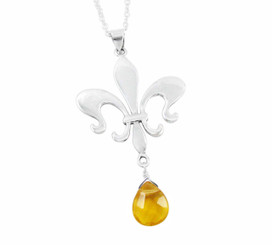 Sterling Silver Fleur de Lis & Crystal Drop Necklace, Yellow