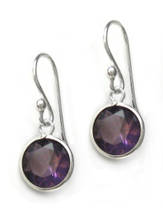 Sterling Silver Round Crystal Drop Earrings, Purple