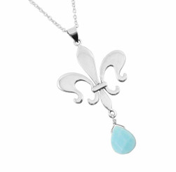 Sterling Silver Fleur de Lis & Crystal Drop Necklace, Sky Blue