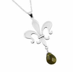 Sterling Silver Fleur De Lis & Crystal Drop Necklace, Smoke