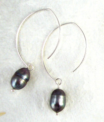 Sterling Silver Modern Peacock Pearl Earrings