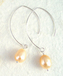 Sterling Silver Modern Pink Pearl Earrings