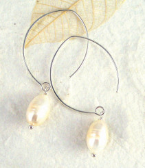 Sterling Silver Modern White Cultured Pearl Earrings