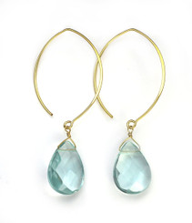 Gold Plated Sterling Silver Teardrop Crystals on Modern Elliptical Hook Earrings, Aqua
