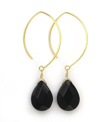 Gold Plated Sterling Silver Teardrop Crystals on Modern Elliptical Hook Earrings, Black