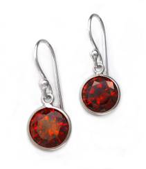 Sterling Silver Round Crystal Drop Earrings, Red