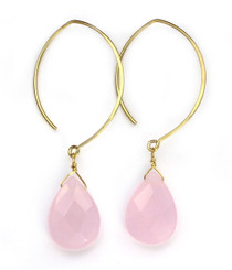Gold Plated Sterling Silver Teardrop Crystals on Modern Elliptical Hook Earrings, Rose