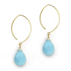 Gold Plated Sterling Silver Teardrop Crystals on Modern Elliptical Hook Earrings, Sky Blue