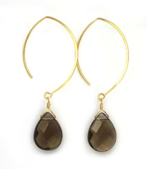 Gold Plated Sterling Silver Teardrop Crystals on Modern Elliptical Hook Earrings, Smoke
