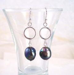 Peacock Pearl & Sterling Silver Circle Drop Earrings