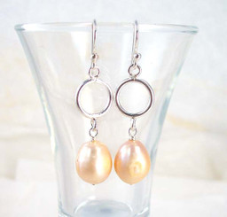 Peach Pearl & Sterling Silver Circle Drop Earrings