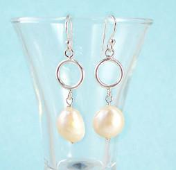 Large White Pearl & Sterling Silver Drop Earrings