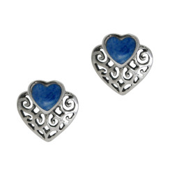 Sterling Silver Stone and Scrolls Heart Stud Post Earrings, Denim Lapis