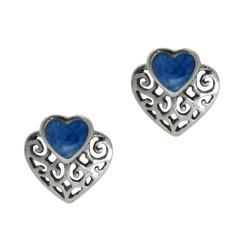 Sterling Silver Stone and Scrolls Heart Stud Post Earrings, Denim Lapis