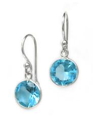 Sterling Silver Round Crystal Drop Earrings, Aqua
