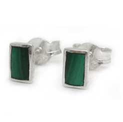 Sterling Silver Everyday Stone Inlay Rectangle Stud Post Earrings, Malachite