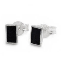 Sterling Silver Everyday Stone Inlay Rectangle Stud Post Earrings, Onyx