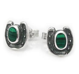 Sterling Silver Lucky Horseshoe Stone Stud Post Earrings, Malachite