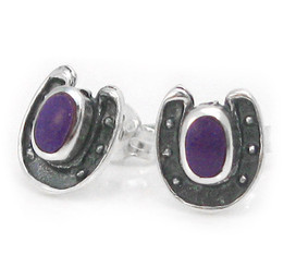 Sterling Silver Lucky Horseshoe and Stone Stud Post Earrings, Sugilite