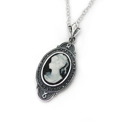 "Sterling Silver ""Aldine"" Resin Cameo Necklace Adjustable Chain 16-18"", Black"
