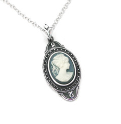 "Sterling Silver ""Aldine"" Resin Cameo Necklace Adjustable Chain 16-18"", Blue"