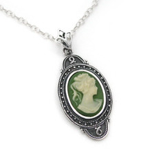 "Sterling Silver ""Aldine"" Resin Cameo Necklace Adjustable Chain 16-18"", Green"