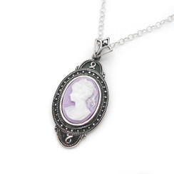"Sterling Silver ""Aldine"" Resin Cameo Necklace Adjustable Chain 16-18"", Lavender"