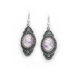 "Sterling Silver ""Aldine"" Resin Cameo Earrings, Lavender"