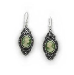 "Sterling Silver ""Aldine"" Resin Cameo Earrings, Green"
