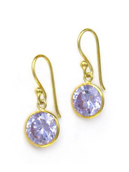 Gold Plated Sterling Silver Sparkling Round Crystal Drop Earrings, Lavender
